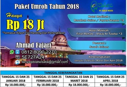 Paket umroh promo 2018 rp 18 Jt All In